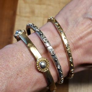 Chico's Gold/Silver Tone Bangle Stretch Bracelet
